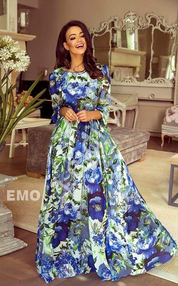 Suknia z długim rękawem w duże niebieskie kwiaty| zwiewne letnie kreacje Linda - Lejdi