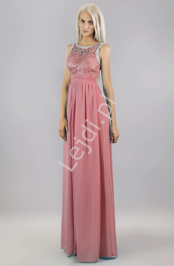 Suknia z kryształkami i gipiurową koronką w kolorze pudrowego różu - Lejdi