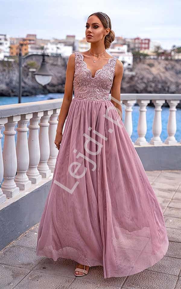 Suknia z tiulu i koronki Chiara EMO, pudrowy róż - Lejdi