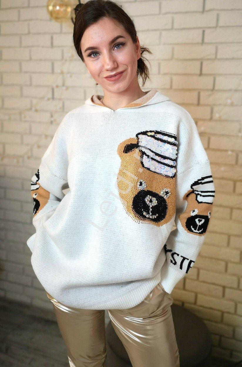 Sweter damski z kapturem z kryształkowym misiem LUXURY PREMIUM - Lejdi