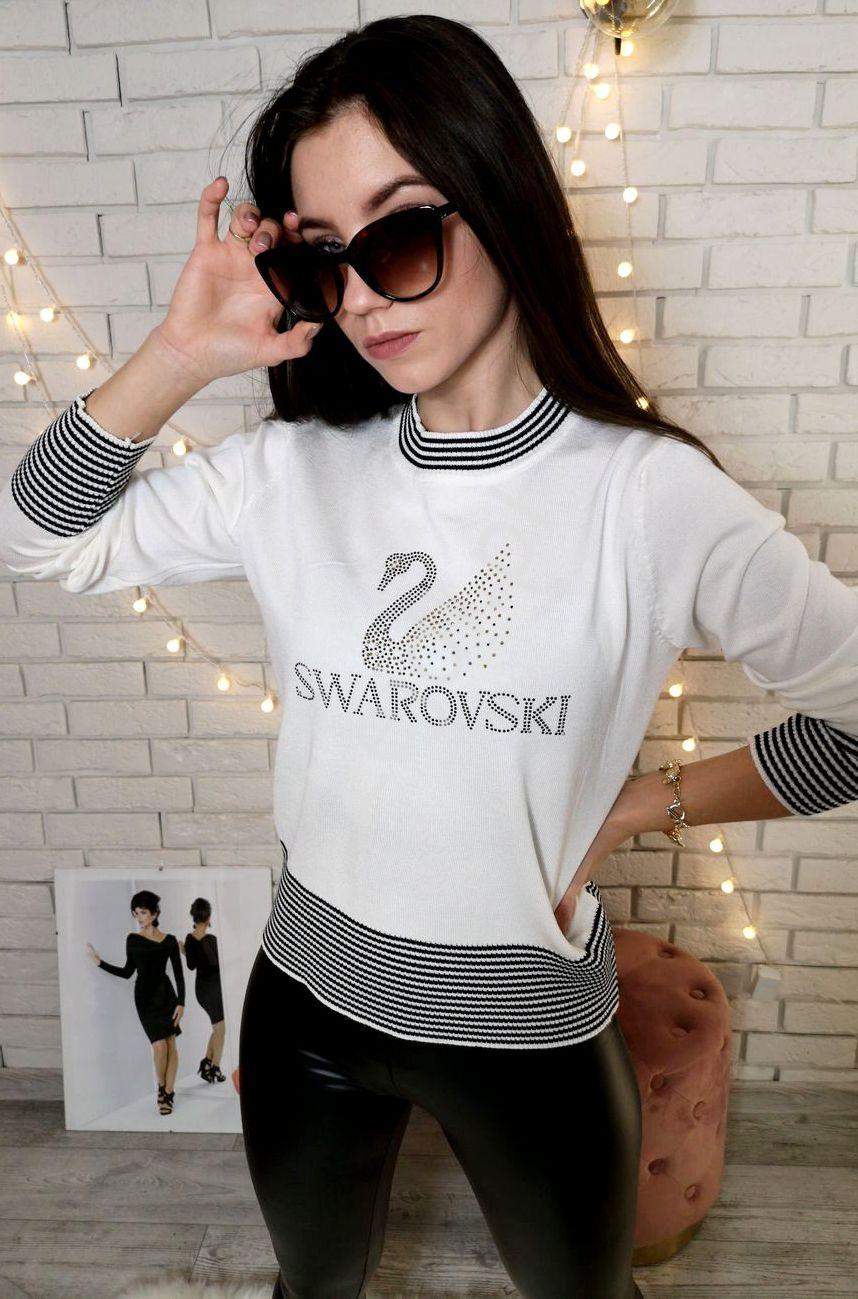 Sweter damski z kryształkami Swarovsky, ecru 6770 - Lejdi