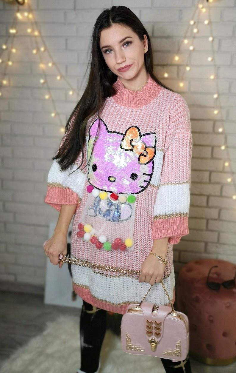 Sweter o grubym splocie z cekinowym Kotem i pomponikami w woreczku - Lejdi