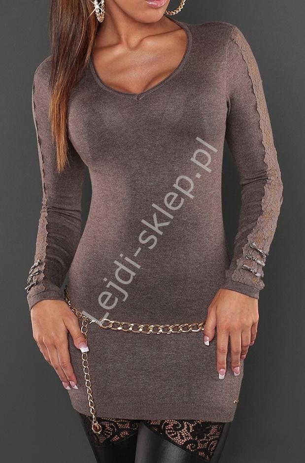 Sweter | tunika z koronka i kokardkami na rękawach mocca, 8061 - Lejdi