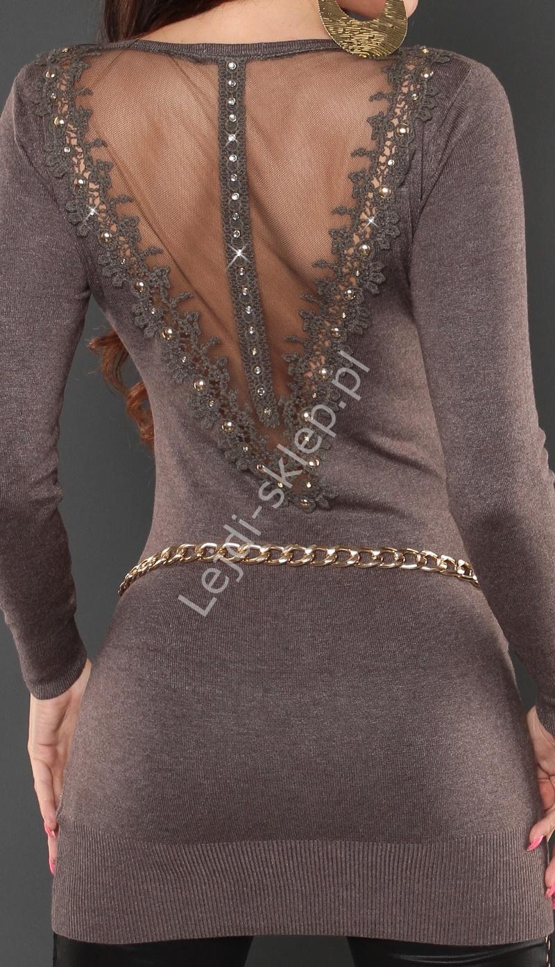 Sweter - tunika z ozdobnymi gipiurowymi plecami, kawa z mlekiem, 8084 - Lejdi