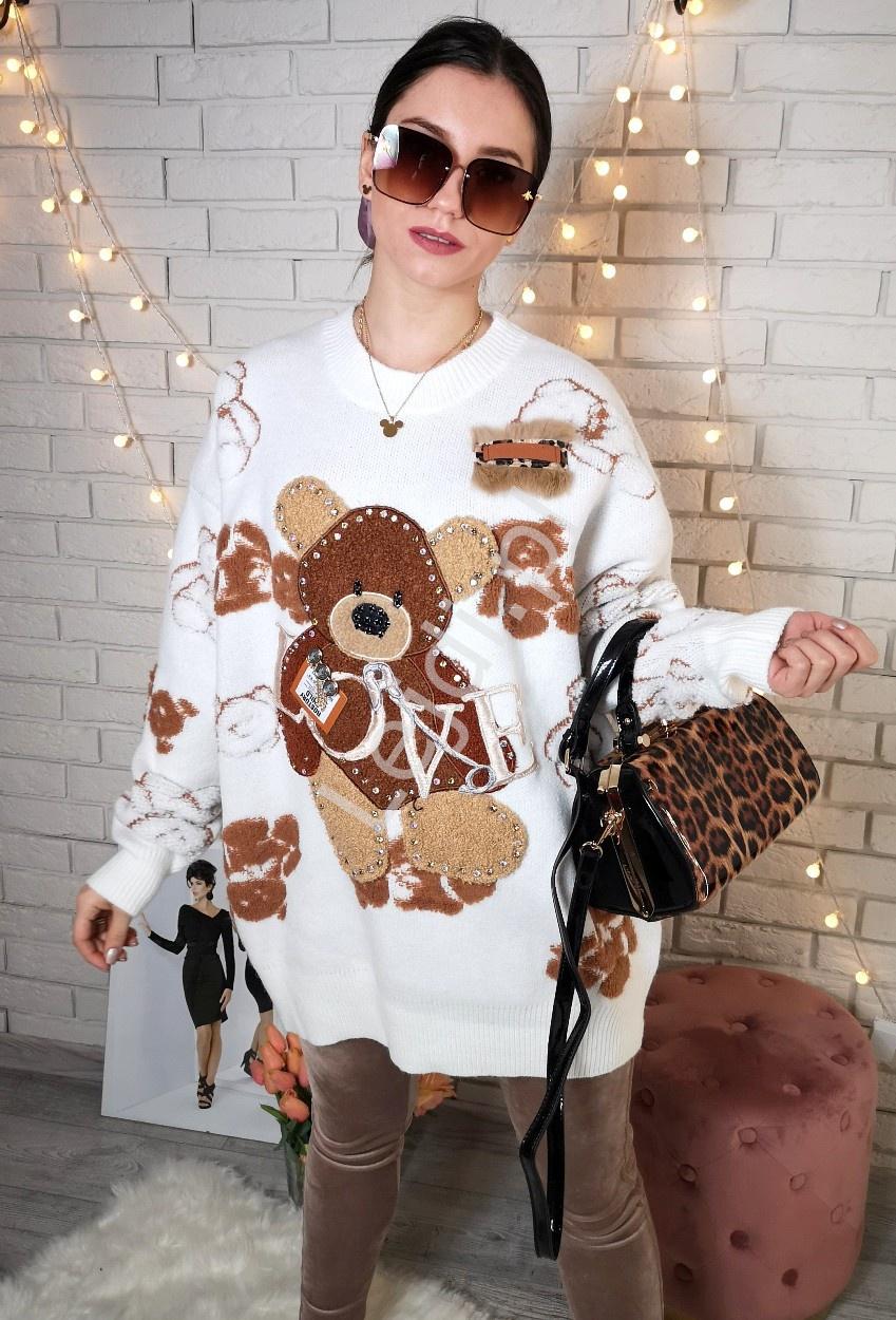 Sweter z futerkowymi misiami oraz kryształkami Premium LUXURY , biały - Lejdi