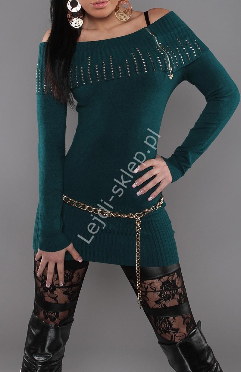 Sweter z wywijanym kołnierzem - CARMEN , ciemna zieleń, 30% wełna+ sztuczny jedwab 3312 - Lejdi
