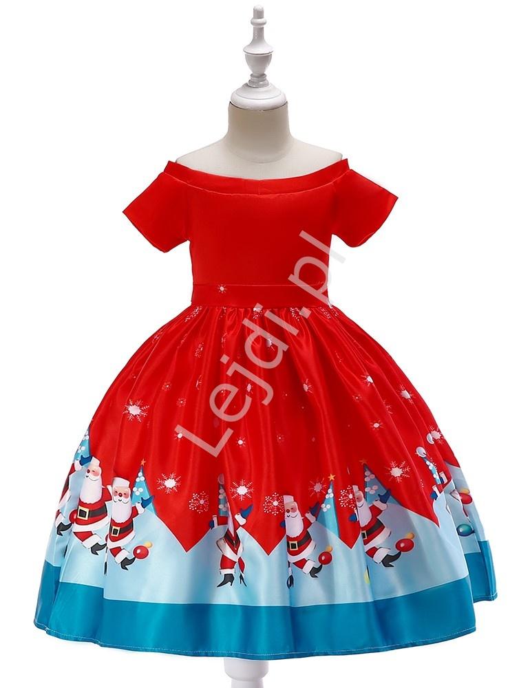 Świąteczna sukienka dla dziewczynki czerwona z Św. Mikołajami 40F - Lejdi