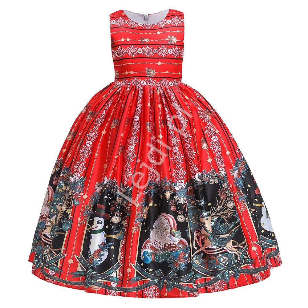Świąteczna sukienka dla dziewczynki w eleganckim stylu 054 - Lejdi