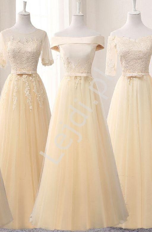 Szampańska suknia wieczorowa z koronką i delikatnie odsłoniętymi ramionami - Lejdi
