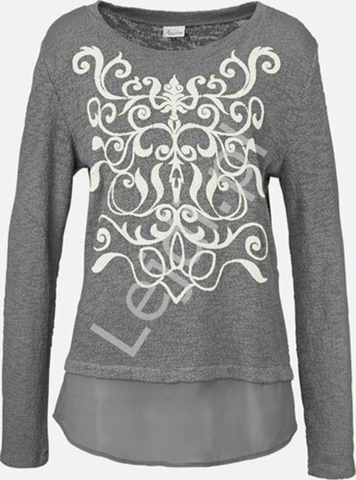 Szara bawełniana bluzka Aniston z szyfonowym dołem ala koszula - Lejdi