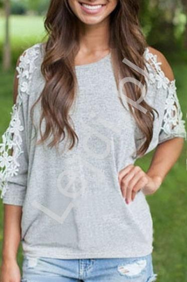 Szara bluzka z gipiurową koronką | bluzki damskie - Lejdi