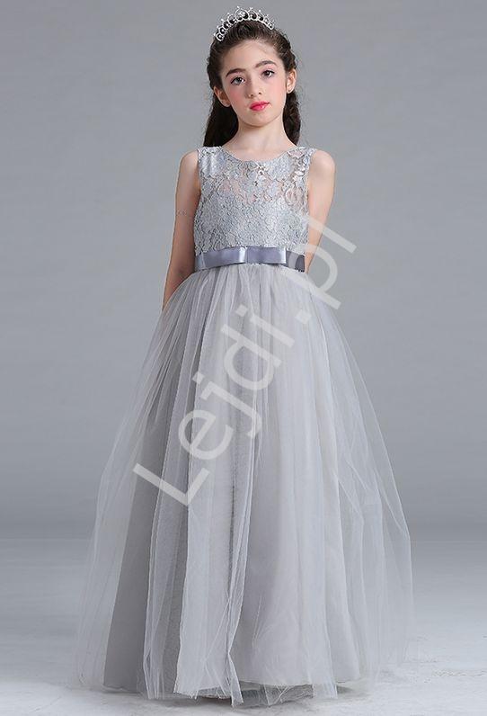 Szara długa sukienka tiulowa dla dziewczynki - Lejdi