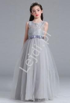94fb8a136b Szara długa sukienka tiulowa dla dziewczynki
