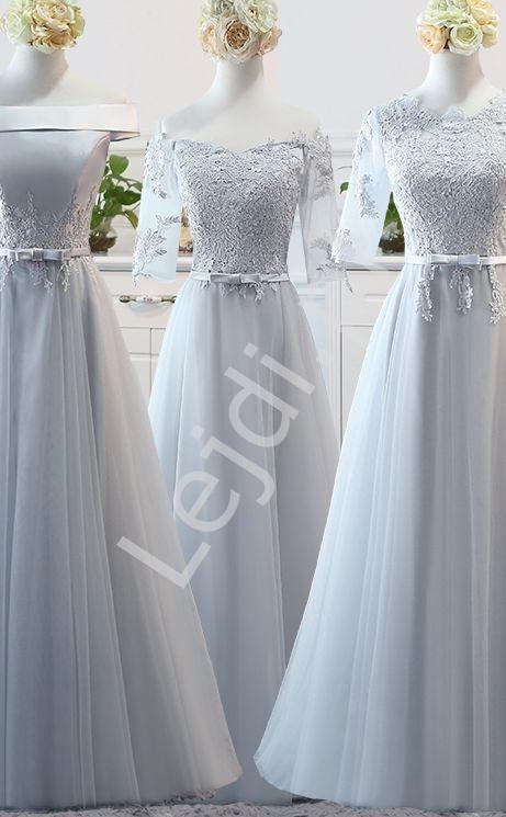 Szara długa sukienka tiulowa z odkrytymi ramionami - Lejdi