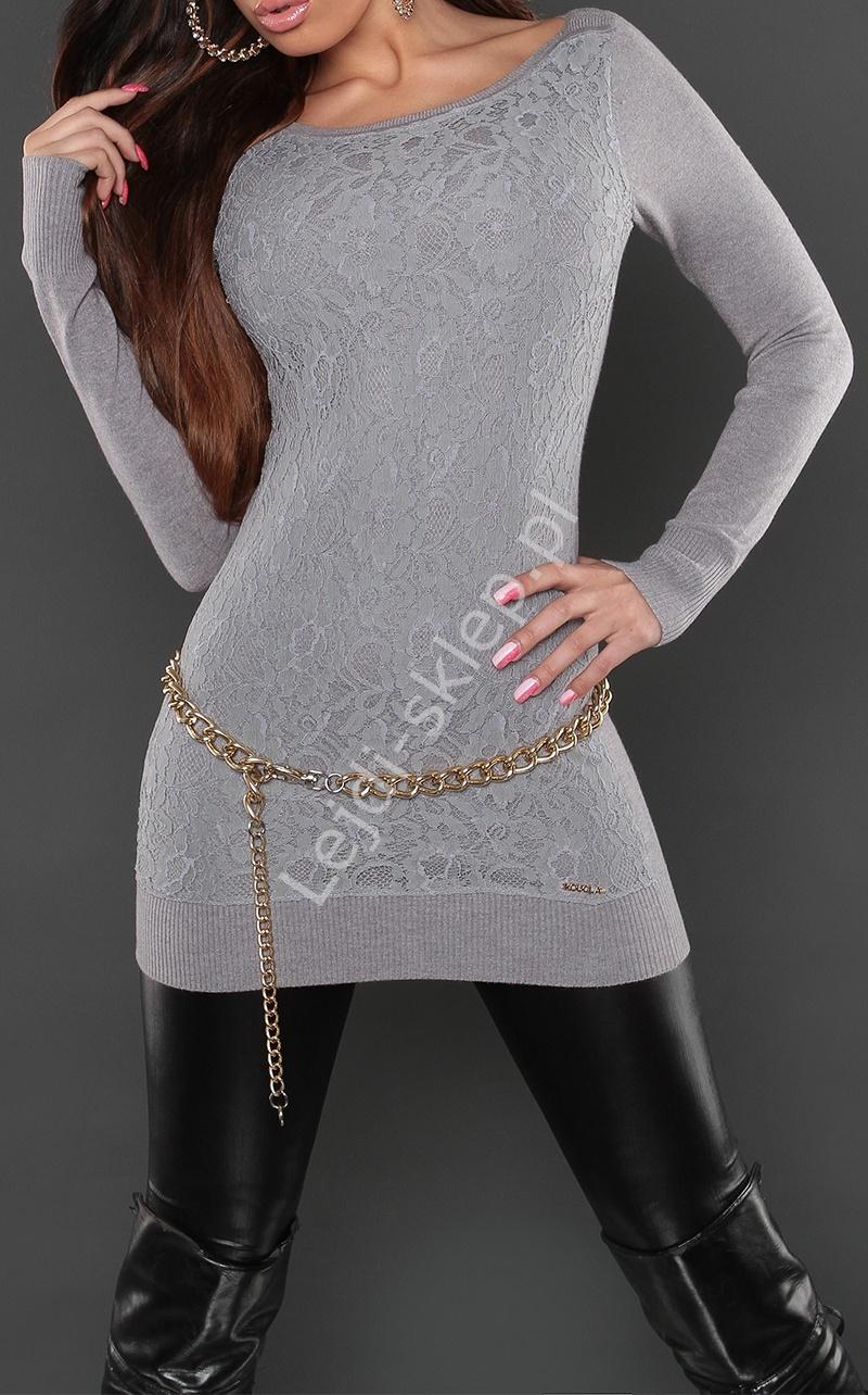 Szara elegancka tunika z gipiurową wyrazistą koronką z przodu | gipiurowe wizytowe tuniki, 8069 - Lejdi