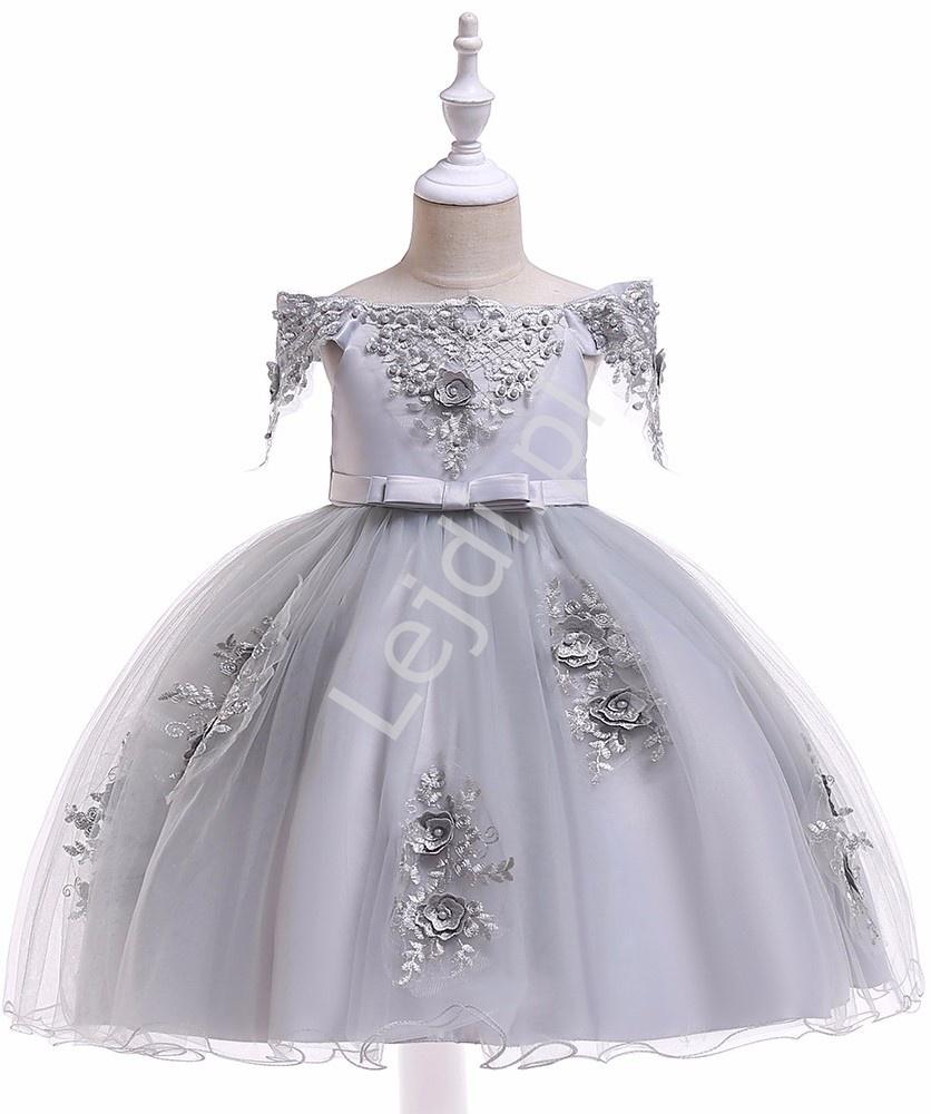 Szara sukienka dla dziewczynki z dekoltem Carmen 057 - Lejdi