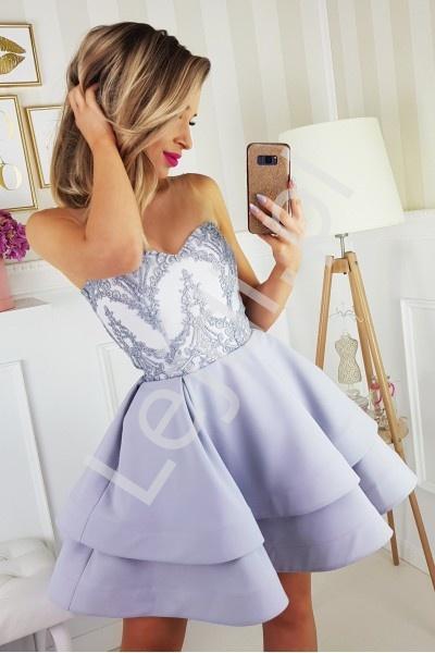 Szara sukienka na wesele z tiulowymi ramiączkami 2138 - Lejdi