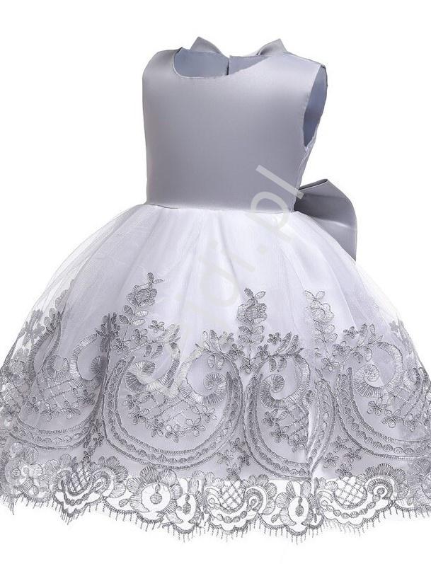 Szara sukienka wieczorowa dla dziewczynki z haftem na spódnicy - Lejdi