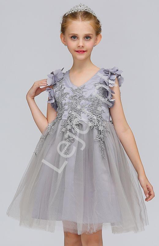 Szara tiulowa sukienka dla dziewczynki zdobiona gipiurową koronką - Lejdi