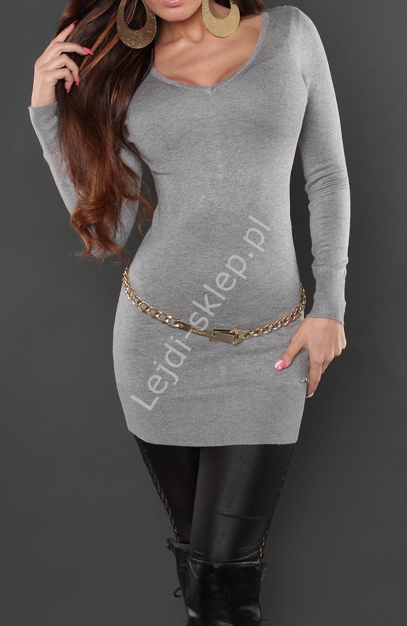 Szara tunika lub sukienka z ozdobną taśmą na plecach | tuniki, 8084 - Lejdi