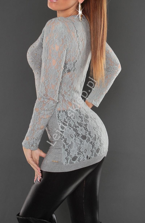 Szara tunika z koronkowymi rękawami i plecami | tuniki damskie z jetami 8059 - Lejdi
