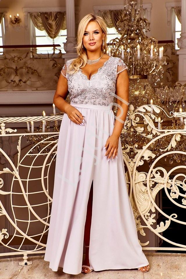 Szara wieczorowa sukienka plus size Chantell - Lejdi