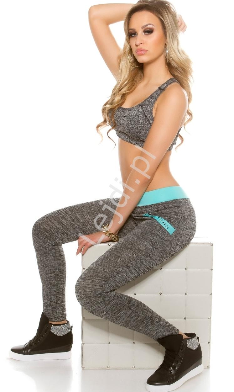 Szare spodnie dresowe z kieszeniami | sportowe spodnie z turkusowymi wstawkami - Lejdi