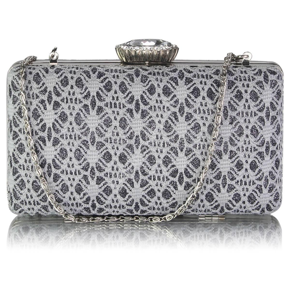 9be82b884d020 Szaro srebrna torebka wieczorowa w wiktoriańskim stylu