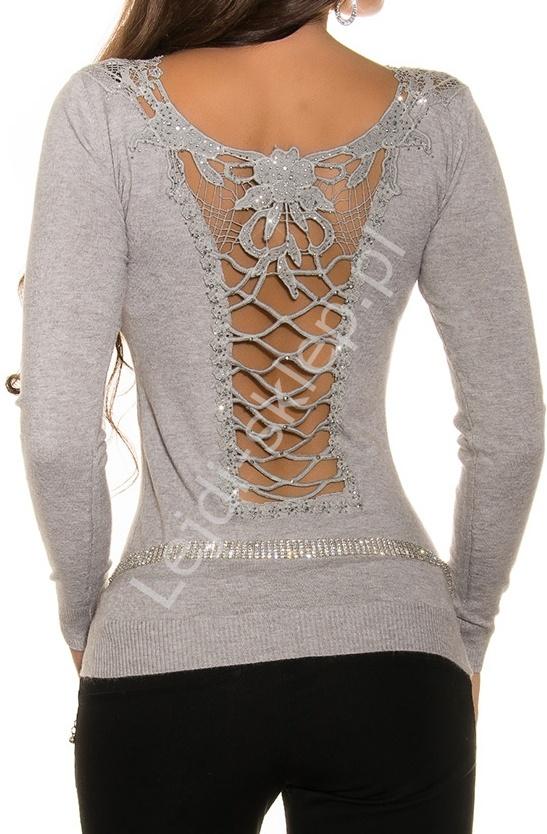 Szary elegancki sweter z przepięknie ozdobionymi plecami | szare swetry damskie 1433 - Lejdi