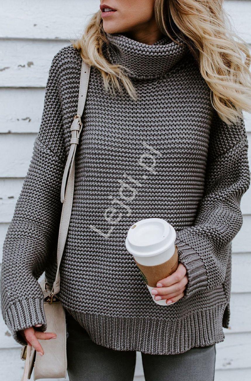 Szary grubo dziergany sweter damski z golfem - Lejdi