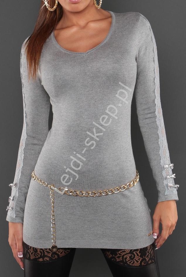 Szary sweter z koronka i kokardkami na rękawach 8061 - Lejdi