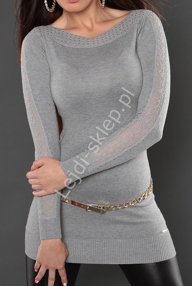 Szary sweter z koronką na rękawach 810 - Lejdi
