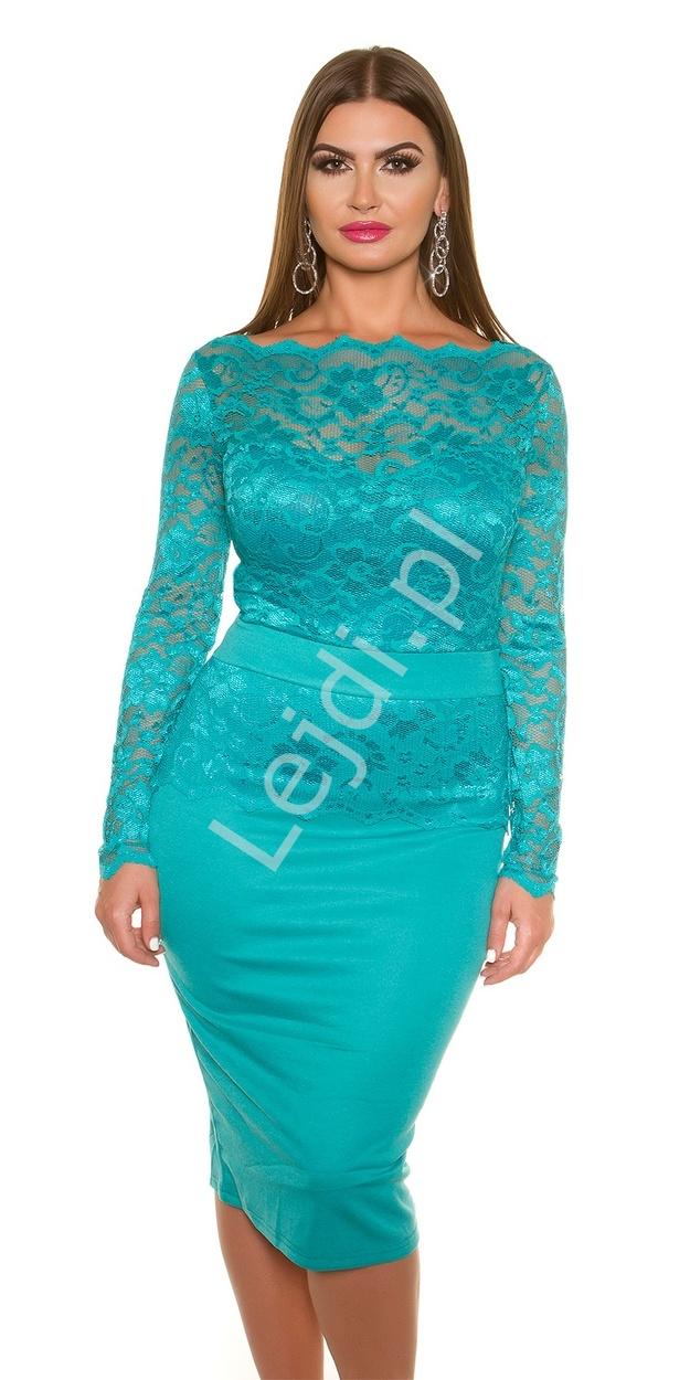 Szmaragdowa elegancka sukienka koronkowa plus size 334p -2 duże rozmiary - Lejdi