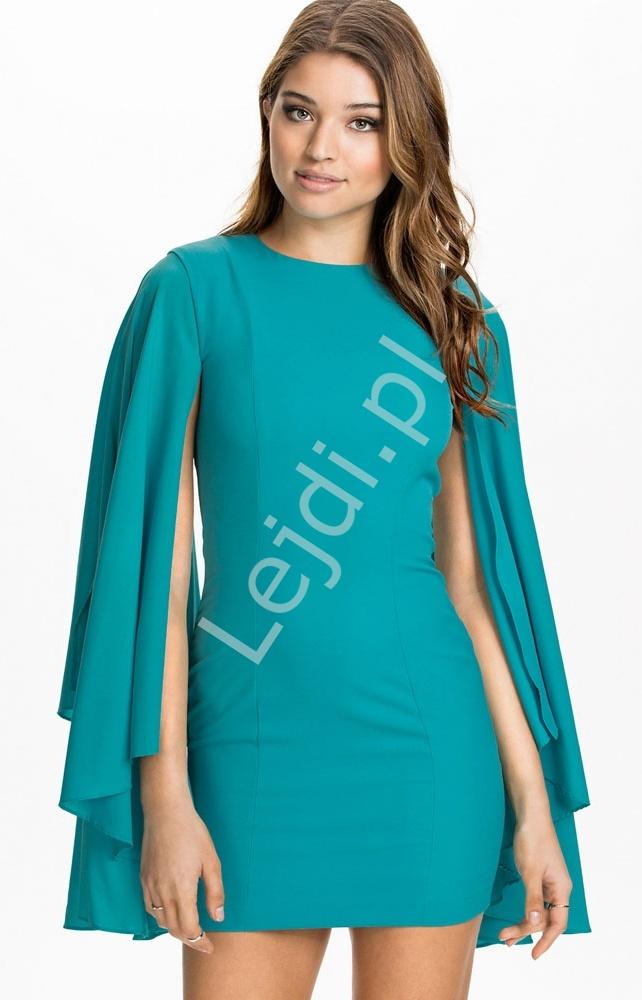 Szmaragdowa obcisła sukienka z rozciętymi rękawami - Lejdi
