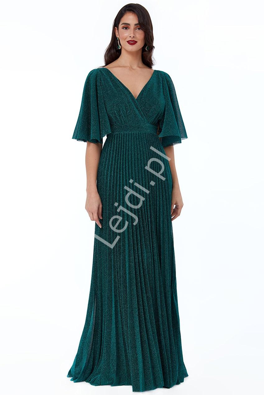Szmaragdowa plisowana suknia na studniówkę, wesele, karnawał Goddiva 2568 - Lejdi