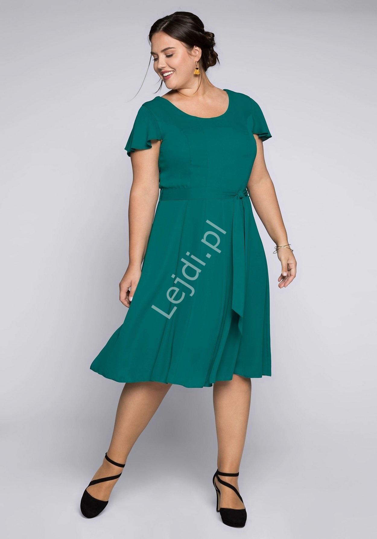 Szmaragdowa prosta sukienka na wesele SHEEGO Plus Size - Lejdi