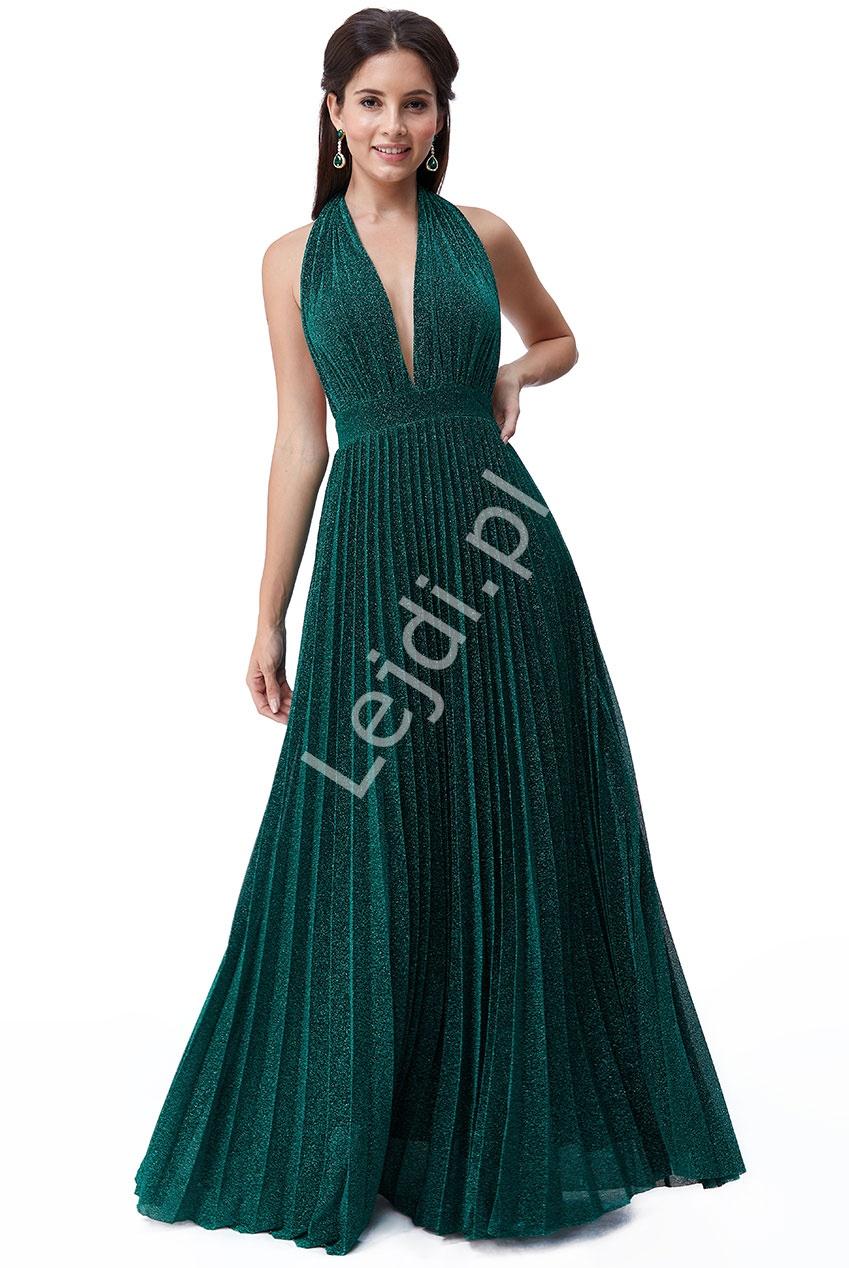 Szmaragdowa sukienka plisowanka z odkrytymi plecami Goddiva 2496 - Lejdi