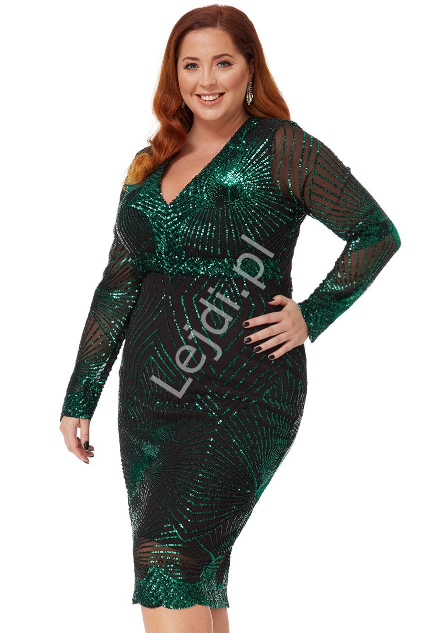 Szmaragdowa sukienka plus size z cekinami, Goddiva 2617p - Lejdi