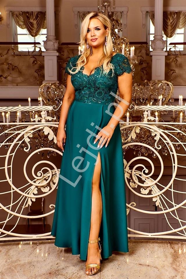 Szmaragdowa sukienka wieczorowa z rozcięciem ukazującym nogę Crystal 2 - Lejdi