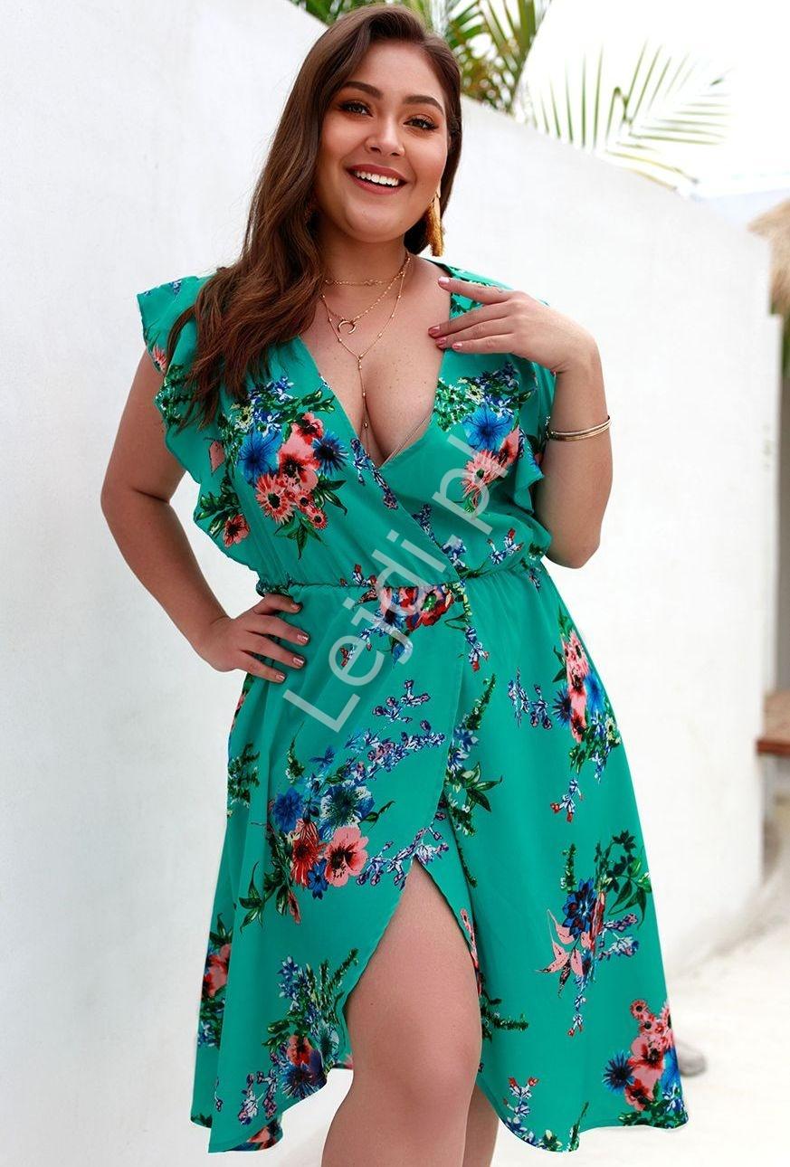 Szmaragdowa sukienka z kwiatami Plus Size 5148 - Lejdi