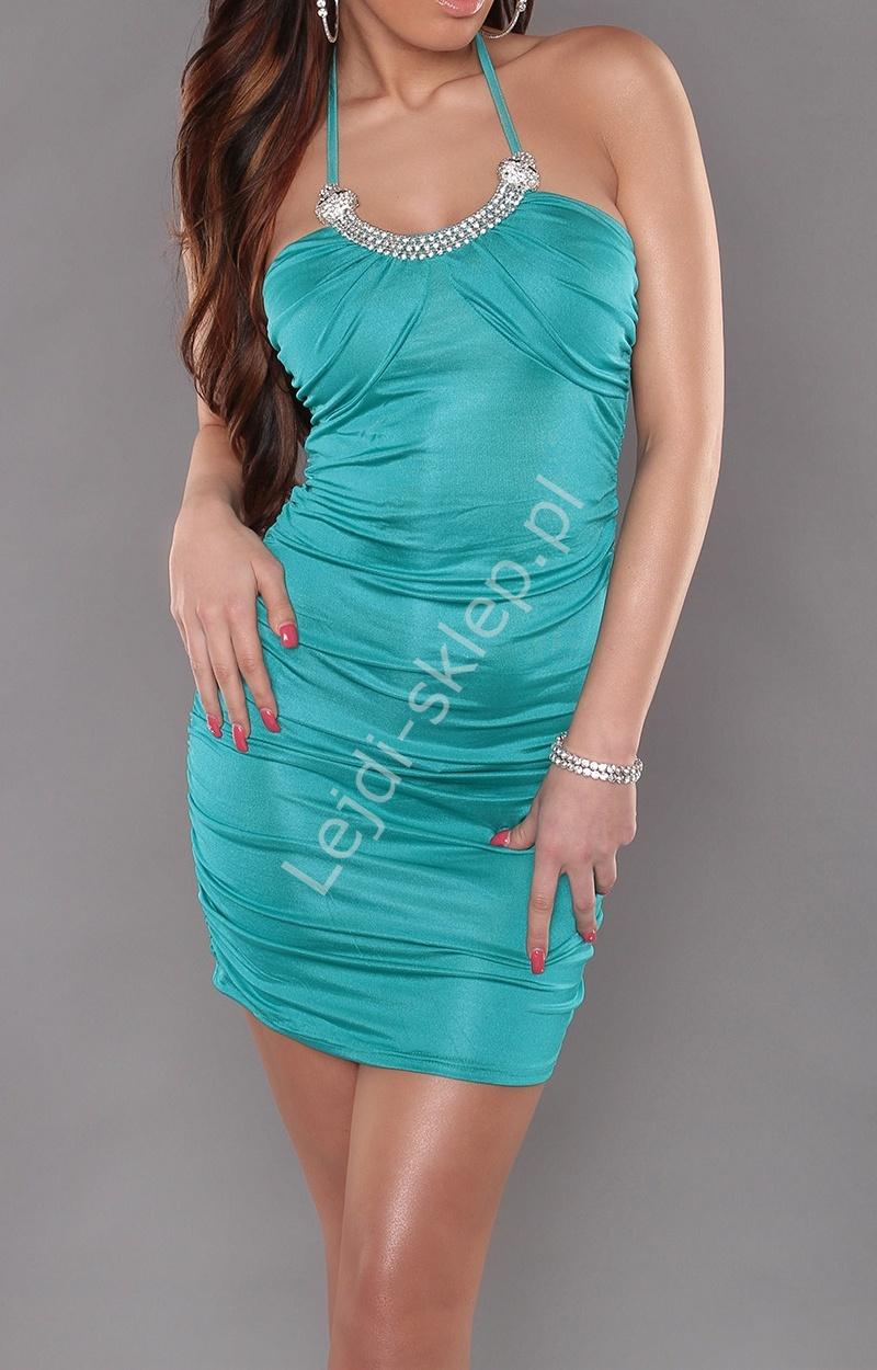 Szmaragdowa sukienka z naszyjniekiem z krysztaków | szmaragdowe sukienki - Lejdi