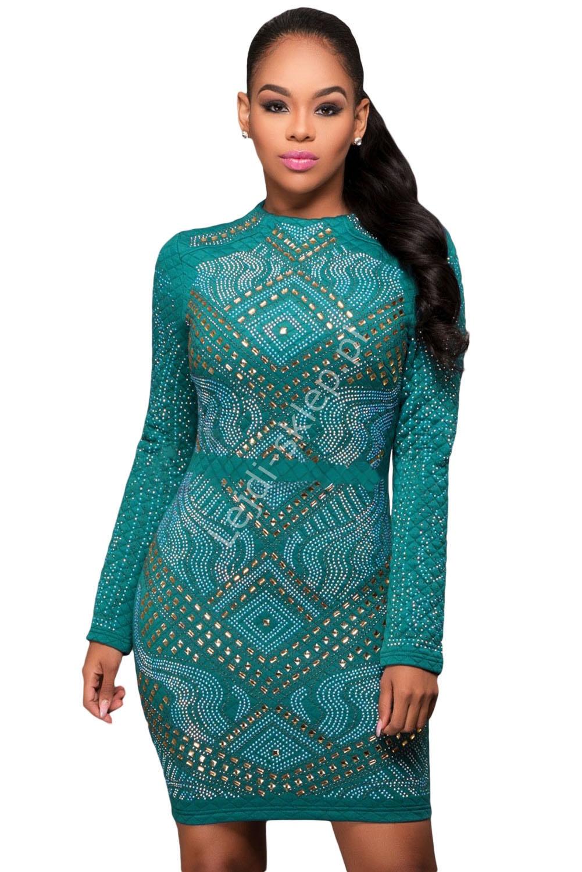 Szmaragdowa sukienka z wzorami , pikowana | pikowane dżersejowe szmaragdowe sukienki - Lejdi