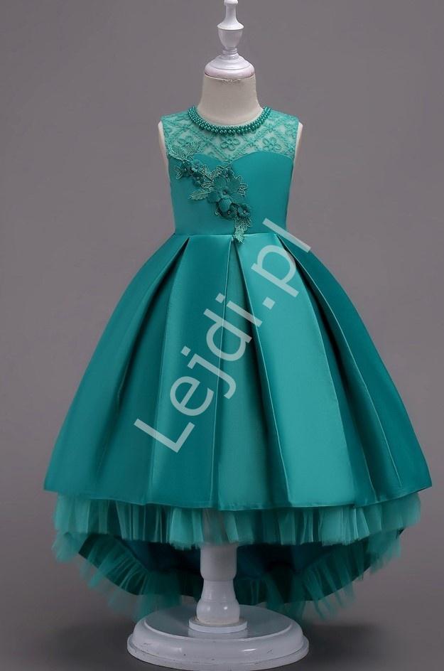 Szmaragdowa suknia dla dziewczynki z trenem na wesele 580 - Lejdi