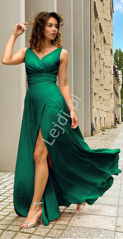 Szmaragdowa suknia wieczorowa z rozcięciem na nodze, szyta od 34 do 52r. - m395 - Lejdi