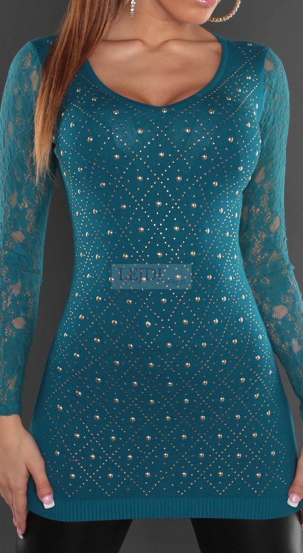 Szmaragdowa tunika z koronkowymi rękawami   tuniki damskie - Lejdi