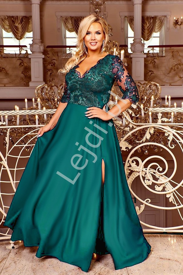 Szmaragdowa wieczorowa suknia plus size zdobiona koronką i cekinami - Crystal 3/4 - Lejdi