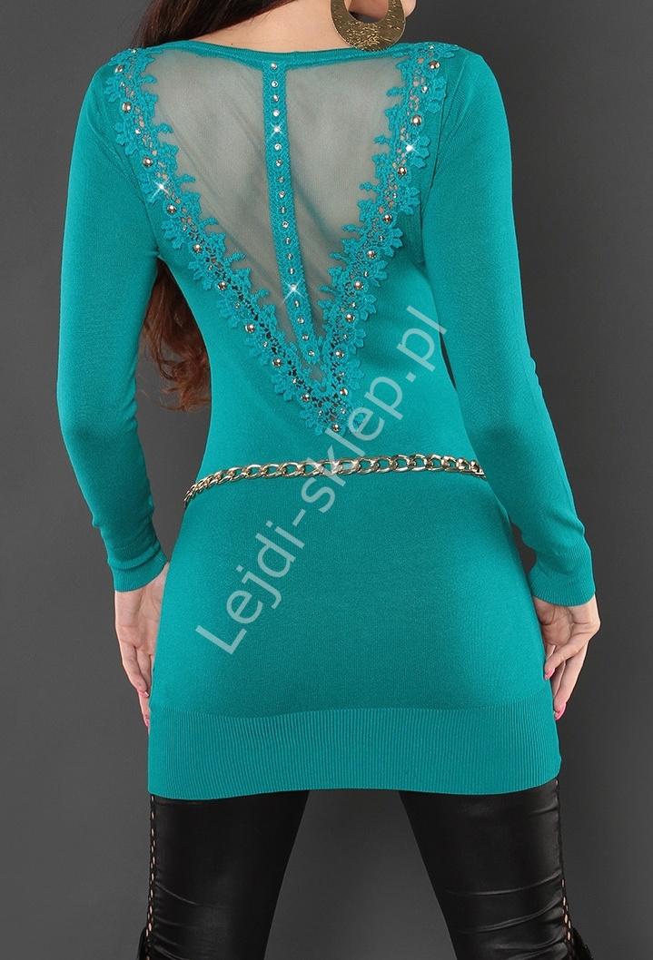 Szmaragdowy sweter - tunika z ozdobnymi gipiurowymi plecami i cyrkoniami, 8084 - Lejdi