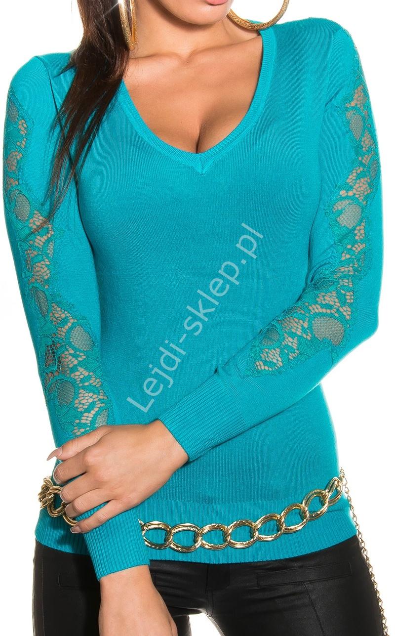 Szmaragdowy sweter z koronką | szmaragdowo zielone swetry damskie, 1401 - Lejdi