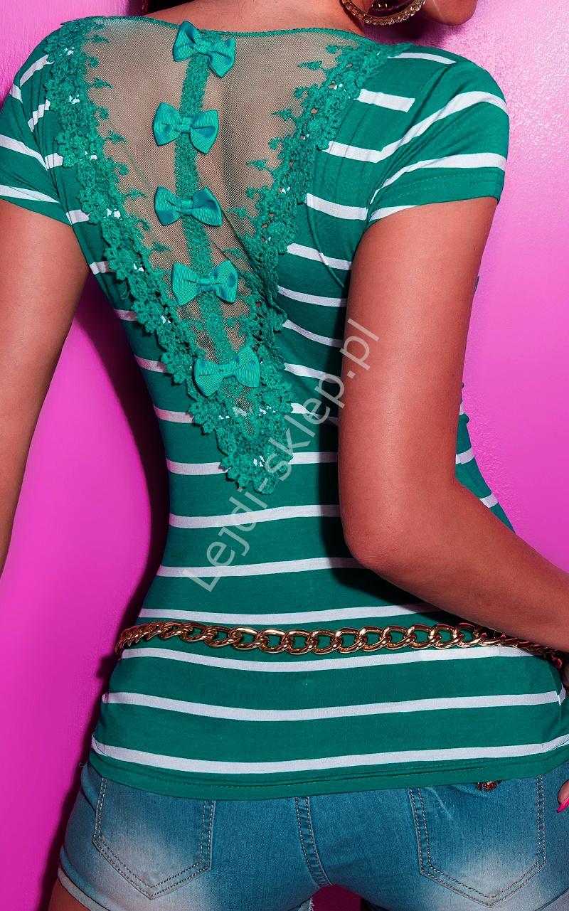 Szmaragdowy T-shirt w paski z tiulową wstawką na plecach | szmaragdowa koszulka damska - Lejdi