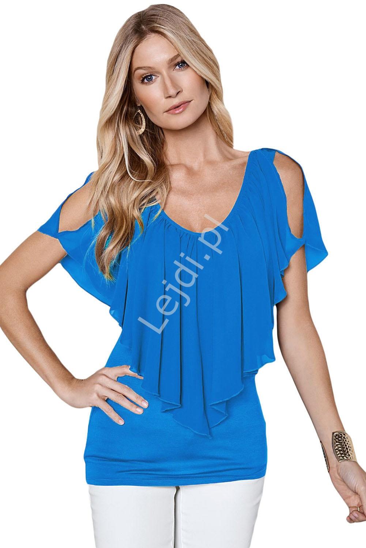 Szyfonowa bluzka niebieska | bluzka z falbaną 063 - Lejdi